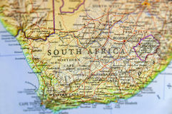 Geographic map of South Africa with important cities Royalty Free Stock Images