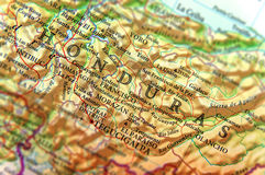 Geographic map of South America country Honduras close. Up stock photos