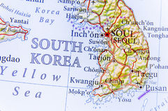 Geographic map of South Korea with important cities royalty free stock photos