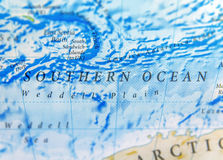 Geographic map of Souther Ocean close royalty free stock photo