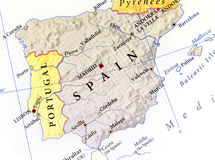Geographic map of Spain with important cities Stock Photos