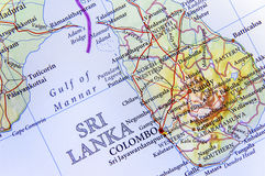 Geographic map of Sri Lanka with important cities. Close Stock Images