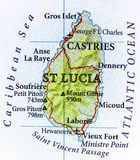 Geographic map of St Lucia iceland country with important cities. Close royalty free stock photo