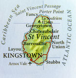 Geographic map of St Vincent country with important cities. Close stock photos