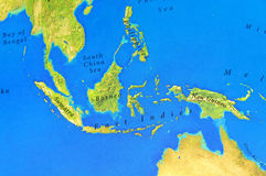 Geographic map of Sumatra, Borneo, New Guinea and Philippines. Close Royalty Free Stock Photography