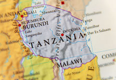 Geographic map of Tanzania with important cities royalty free stock photo