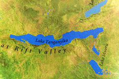 Geographic map of Tanzania and Lake Tanganyika royalty free stock photo