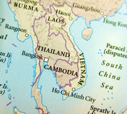 Geographic map of Thailand, Burma, Cambodia, Vietnam and Laos country with important cities stock image
