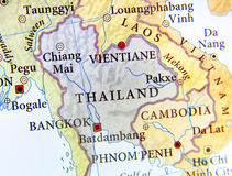 Geographic map of Thailand with important cities Royalty Free Stock Images
