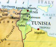 Geographic map of Tunisia country with important cities Stock Photography