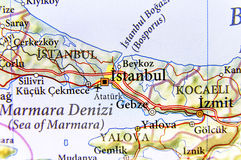 Geographic map of Turkey with large city Istanbul Royalty Free Stock Photos