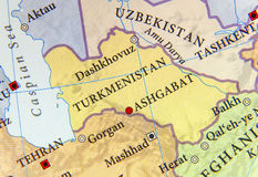 Geographic map of Turkmenistan with important cities Royalty Free Stock Images