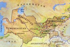 Geographic map of Turkmenistan, Tajikistan, Kyrgyzstan and Uzbekistan with important cities royalty free stock photos