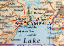Geographic map of Uganda with capital city Kampala. Close Stock Photography