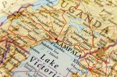 Geographic map of Uganda with capital city Kampala Stock Photo