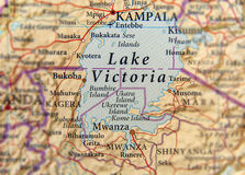 Geographic map of Uganda with capital city Kampala and Lake Victoria. Close Royalty Free Stock Photography
