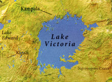 Geographic map of Uganda with capital city Kampala and Lake Victoria. Close Royalty Free Stock Images