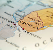 Geographic map of Uruguay countries with important cities Stock Photography