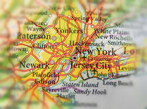 Geographic map of US city New York and other important cities Stock Images