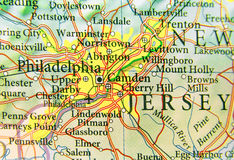 Geographic map of US city Philadelphia and other important cities Royalty Free Stock Image