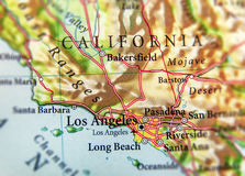 Geographic map of US state California with important cities. Close stock image