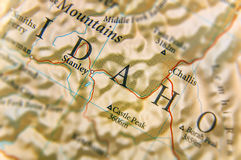 Geographic map of US state Idaho with important cities. Close stock photo