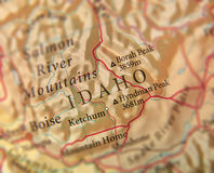 Geographic map of US state Idaho with important cities. Close royalty free stock photos