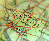 Geographic map of US state Illinois and Saint Louis city. Close Royalty Free Stock Photo