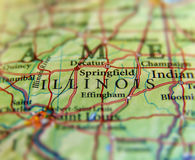 Geographic map of US state Illinois and Saint Louis city. Close Stock Photos