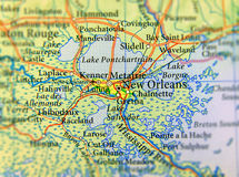 Geographic map of US state Louisiana and New Orleans city close. Geographic map of US state Louisiana and New Orleans city stock images