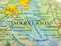 Geographic map of US state Maryland and Washington DC city. Close royalty free stock photo