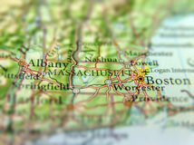 Geographic map of US state Massachusetts and Boston city. Close stock photos