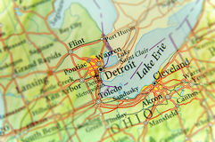 Geographic map of US state Michigan and Detroit city. Close royalty free stock photography