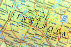 Geographic map of US state Minnesota with important cities Royalty Free Stock Image