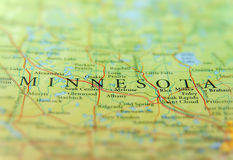 Geographic map of US state Minnesota with important cities Royalty Free Stock Photography