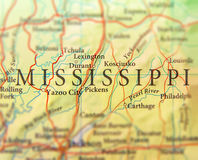 Geographic map of US state Mississippi with important cities. Close stock photo