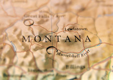Geographic Map Of Us State Montana With Important Cities Royalty Free Stock Photo