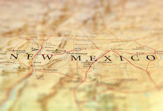 Geographic map of US state New Mexico with important cities. Close stock images