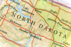 Geographic map of US state North Dakota with important cities. Close royalty free stock photography