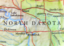 Geographic map of US state North Dakota with important cities Stock Image