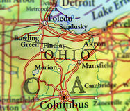 Geographic map of US state Ohio and city Columbus and Toledo city. Close stock photos