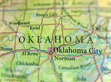 Geographic map of US state Oklahoma with important cities royalty free stock images