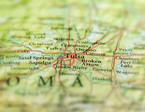 Geographic map of US state Oklahoma and Tulsa city close. Up Stock Photo