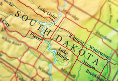 Geographic map of US state South Dakota with important cities Royalty Free Stock Photography