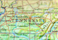 Geographic map of US state Tennessee with important cities Stock Photo