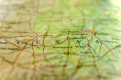 Geographic map of US state Texas and Dallas city Stock Photos