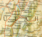 Geographic map of US state Utah and important cites Stock Photos