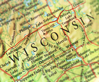 Geographic map of US state Wisconsin with important cities. Close stock images