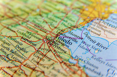 Geographic map of US Toledo close. Up stock photo