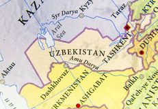Geographic map of Uzbekistan with important cities Stock Photography